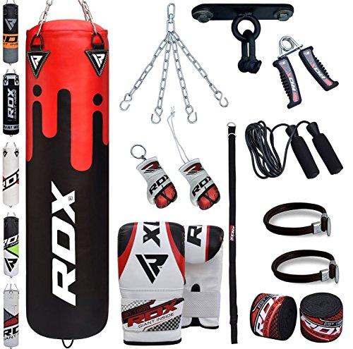 Boxen Gewichte (RDX Boxsack Set Gefüllt Kickboxen MMA Muay Thai Boxen mit wandhalterung Stahlkette Training Handschuhe Kampfsport Schwer Punchingsack gewicht 4FT 5FT Punching Bag)