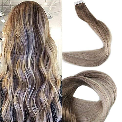 Full Shine 18 Zoll Tape Hair Extensions Haarfarbe # 8 Ash Brown Fading zu # 60 und # 18 Ash Blonde Dip gefärbtes Menschenhaar Ombre Kleber Haar 20 Stück 50 Gramm pro Packung