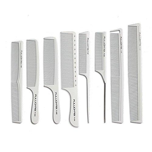 Pettine per capelli professionale bianco parrucchiere pettine in carbonio resistente al calore antistatico pettine set 8 parrucchieri taglio acconciatura preferito