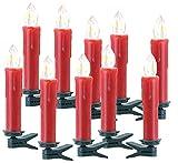 Lunartec Zubehör zu Christbaumkerzen Funk: 10er-Erweiterungs-Set Funk-Weihnachtsbaum-LED-Kerzen, rot (Kabellose Weihnachtsbeleuchtung)