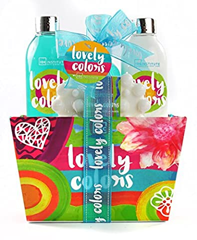 IDC INSTITUTE Lovely Colors Collection Set de Bain Coffret Cadeau 4 Pièces