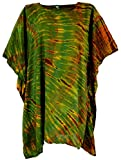 Guru-Shop Batik Kaftan, Ibiza-StyleTunika, Boho Bluse, Damen Maxibluse, Olive, Synthetisch, Size:One Size, Blusen & Tunikas Alternative Bekleidung