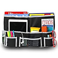 Fancii 10 Pocket Bedside Caddy - Hanging Storage Organiser for Books, Phones, Tablets, Accessory and TV Remote - Best for Headboards, Bed Rails, Dorm Rooms, Bunk Beds, Apartments, Bathrooms & Travel