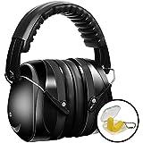 Kapselgehörschützer Gehörschutz für Kinder und Erwachsene SNR 35 dB, PONCTUEL ESCARGOT Ear Muffs Headband,Sicherheit Ohrenschützer mit gepolsterter Kopfbügel, Faltbare Verstellbare Gehörschutz mit Weichschaum für Erwachsene und Kinder, Schwarz