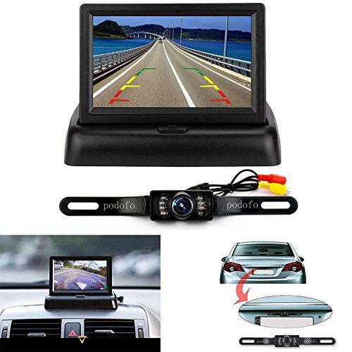 Rückfahrkamera Podofo® 4.3″ Faltbarer Drahtloser Auto Rückansicht TFT LCD Monitor mit wasserdichter Nachtsicht Parken Rückfahrkamera Installationssatz - 2