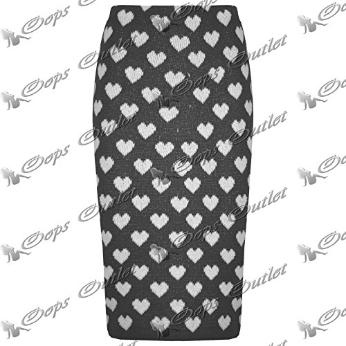 Be Jealous -  Vestito  - Donna Charcoal Hearts - Slim Fitted Soft Bandage