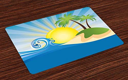 Soefipok Strand-Platz-Matten, Sommer-Strand-Illustration mit Sonnenstrahlen-Tropeninsel-Zusammenfassungs-Anordnung, waschbare Gewebetischsets für Esszimmer-Küchentisch-Dekoration , Satz von 4