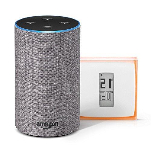51gmLUBe9DL [Bon Plan Netatmo] Amazon Echo (2ème génération), Tissu gris chiné + Thermostat Connecté Netatmo by Starck