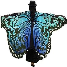 VENMO Disfraz de Chal de Alas de Mariposa Adulto Chica Mujeres Gasa Bufanda (Azul)