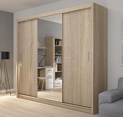 Fado Extra Large 235cm Miroir Armoire 3portes Armoire à portes coulissantes miroirs étagères tiroirs Penderie à suspendre en bois de chêne Sonoma Efect meubles de chambre à coucher couloir
