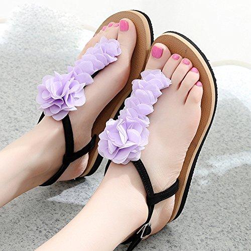 Pente avec sandales Sandales plates glissantes féminines Chaussures étudiantes Chaussures décontractées pendant 18 à 40 ans ( Couleur : 1004 , taille : 35 ) 1005
