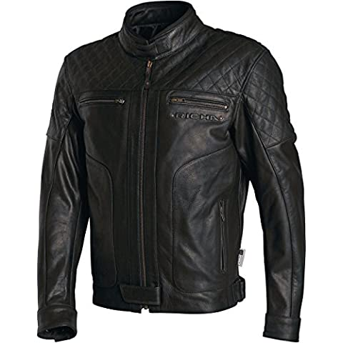 Richa Memphis aprobación CE Armour chaqueta para la moto, cuero. Negro negro negro 48