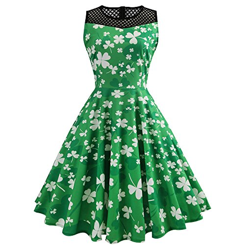 Erwachsene Für Kostüm Patrick - Sannysis St. Patricks Day Kostüm Damen | Frisch Grüner und Weißer Kleeblatt Druck Kleid Frauen Vintage Swing Party Kleider Ärmelloses Patchwork Design Dress Irischer Kobold Kostüm