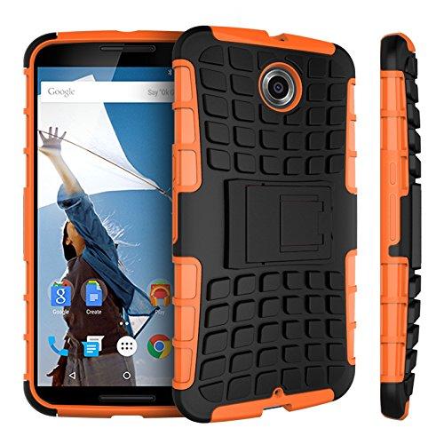 Motorola Nexus 6 Kasten, CaseFirst Reifenstreifen Hybrid Combo Shockproof Rüstung Robuste Dual Layer Case Cover mit Kickstand für Motorola Nexus 6 (Orange)
