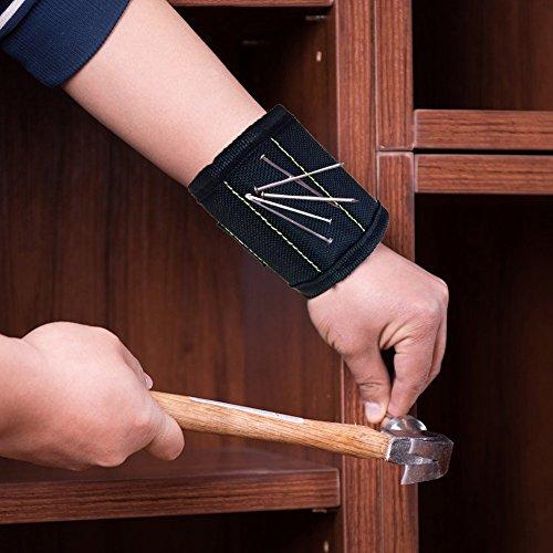 JTENG Magnetische Armbänder, Magnetarmband mit 10 leistungsstarken Magneten Magnet Armbänder verstellbares Klettband zum Halten von Werkzeugen, Schrauben, Nägel, Bohren Bits und Kleinwerkzeuge - 2