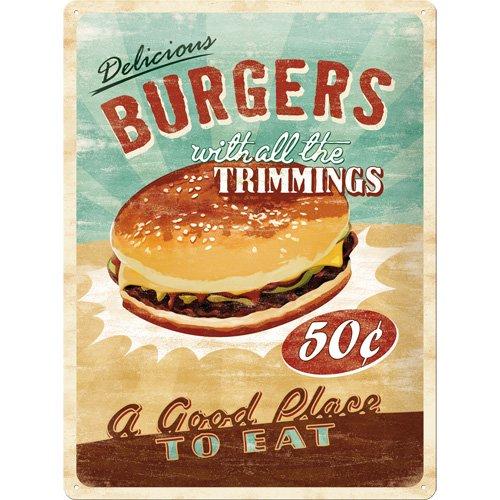 Nostalgic-Art - Placa metálica decorativa, diseño retro de hamburguesa