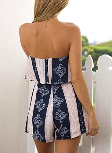 ACHICGIRL Women's Fashion Strapless Ruffle Floral Printed Romper Blue&pink