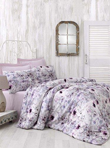 Luxus Mako Satin Bettwäsche 135×200 cm 3D Digitaldruck Rosen Blumen Muster 2 teilig 100% reiner Baumwollsatin Nasrin