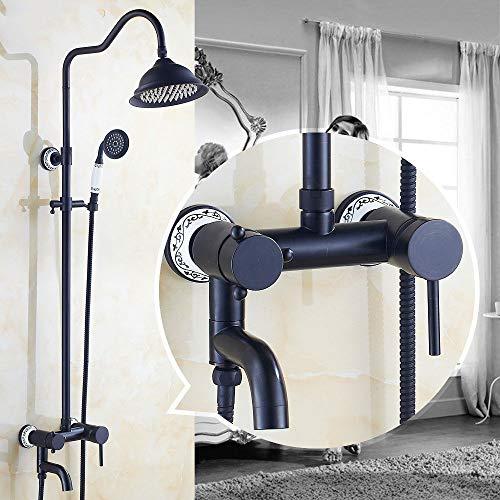 Antik Dusche Duschset EuropäIsch Amerikanisch Retro Doppeldusche Dusche Schwarzbronze Telefon Aufzug Dusche (- Aufzug-telefon)