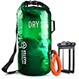 OutdoorMaster Dry Bag - Waterproof, Lightweight Dry Sack for The Beach, Boating, Fishing, Kayaking, Swimming, Rafting - Comes with 2 Free Waterproof Cell Phone Case with Floating Strap (Green, 5L)