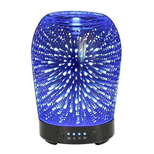 Olio Essenziale ad ultrasuoni Nebbia Fredda Umidificatore Fuochi d'artificio in Vetro 7 Cambio di Colore Luce Notturna Aromaterapia Tranquillo per l'home Office-Blu