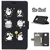 BeCool® - Flip Cover Case Motorola Moto X4 [ Viewing Stand ] Black Elegant Wallet , protects and adapts flawlessly to your Smartphone, together with our exclusive designs Penguin mood states