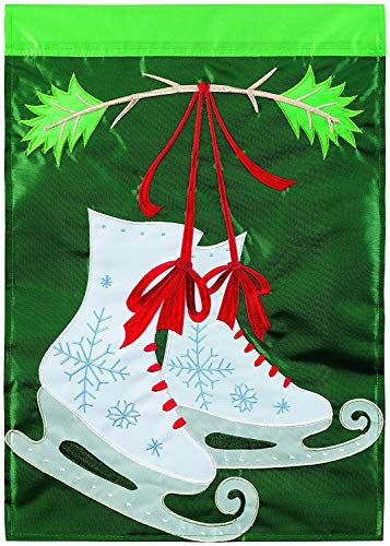 Iowa State Applique (CHKWYN Home Accents Holiday Skates Trends Double Applique Garden Flag for Party Outdoor Home Decor Size: 28-inches W X 40-inches H)