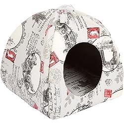 Casa iglú para gato con diseño de cartas.