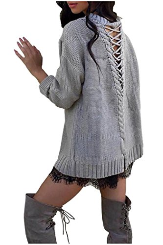 Zaywind Damen Fashion Strick Sweatshirt Rückenfrei Knit Cardigan Casual Lace up Jumper Oversize Pullover Oberteil, Grau, Gr. L (Oversized Knit Cardigan)