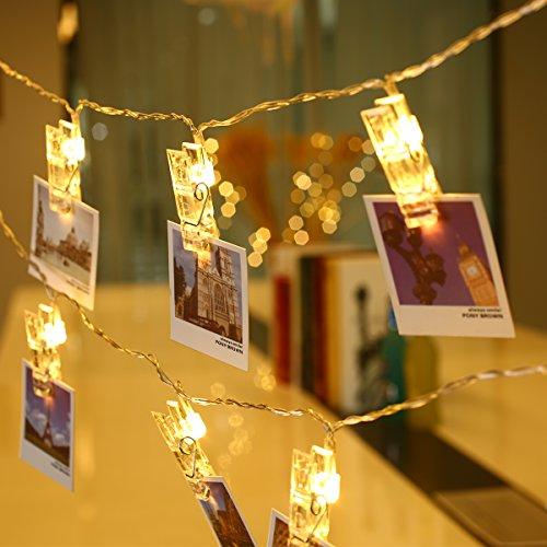 LE 3m 20 LED Cadena de luces con pinzas, 2 modos de luz, Blanco cálido, Guirnalda de luces con Clips para fotos