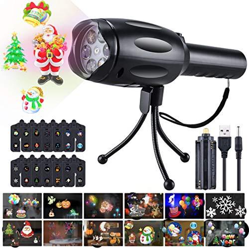 nlampen Projektionslampe Licht mit 12 Dias Weihnachtsbeleuchtung USB-Lade Kindertaschenlampe mit Stativ Tragbar Dekorative Lichter für Geburtstag Weihnachten Urlaubsdekoration ()