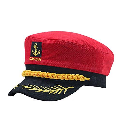 ze Männer Frauen Kapitän Hüte Klassisch Nautisch Kapitän Hut Rot A ()