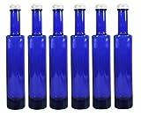 Viva Haushaltswaren 6 x Ölflasche 200 ml Blaue Glasflasche mit Schraubverschluss inkl.Trichter