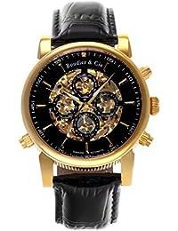 Boudier & Cie SK14H056 - Reloj Esqueleto Automatico Analogico para hombre, Esfera negra, Carcasa dorada de Acero inoxidable, Correa de Cuero negro