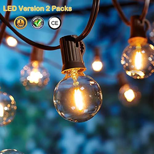 OxyLED LED Lichterkette Außen,[LED Version] LED Garten Lichterkette Terrasse außerhalb der Lichterkette,wasserdichte Innen/Außen-Lichterketten für Patio,Party,Xmas,7,62m G40 12 Birnen,2 Stück