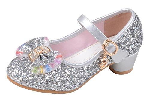 La Vogue Zapatos Zapatilla con Lentejuela Para Niña Princesa Fiesta Plateado Color 26/Longitud Interior...