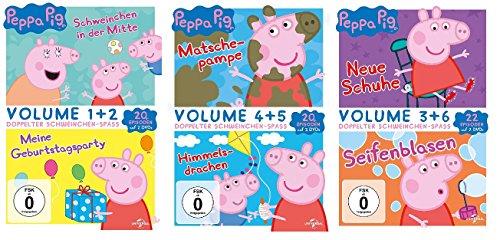 Peppa Pig - 62 Episoden auf 6 DVDs (Doppelbox 1+2+3 = Vol. 1/2+4/5+3/6) im Set - Deutsche Originalware [6 DVDs]