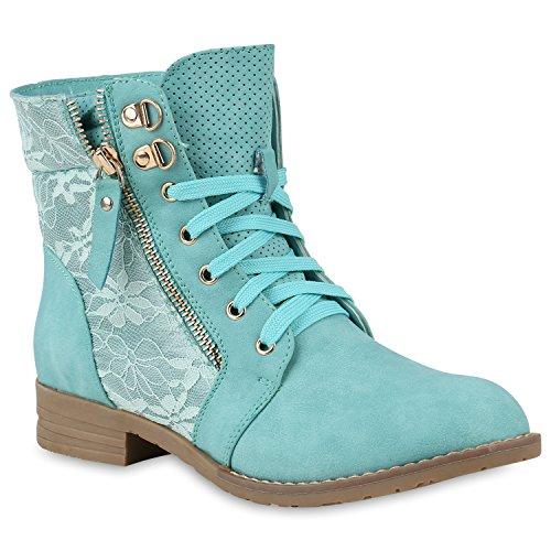 Stylische Damen Stiefeletten Worker Boots Knöchelhohe Stiefel Gesteppt Damen Leder-Optik Zipper Ketten Schuhe 146973 Hellgrün 41 Flandell
