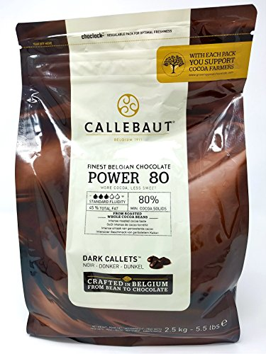 Callebaut Power 80 (Poder 80%) - Cobertura de Chocolate Negro Belga - Finest Belgian Dark Chocolate (Callets) 2,5kg