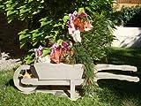 Schubkarren 100 cm, Pflanztrog, Pflanztopf HSC-100-HELLGRAU Blumentopf, Holz, hell grau weiss weiß amazon silbergrau Pflanzgefäß, Pflanztöpfe Pflanzkübel
