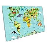 Kunstdruck auf Leinwand Illustration World Map of Animals blau - 76 x 51 x Depth 2cm