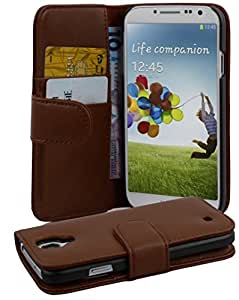 Cadorabo - Custodia Book Style Design Portafoglio per Samsung Galaxy S4 (I9500) con Vani di Carte - Etui Case Cover Involucro Bumper in MARRONE-CASTAGNO