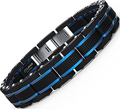Coolman Jewellery Mens Bracelets Stainless Steel Blue&Black Adjustable 8.5-9 Inch( With Branded Gift Box)