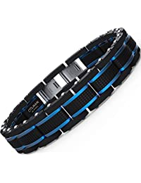 Coolman Bijoux Hommes Bracelets Acier Inoxydable Bleu & Noir Réglable 8,5-9 Pouces (Avec Boîte-Cadeau Marque)