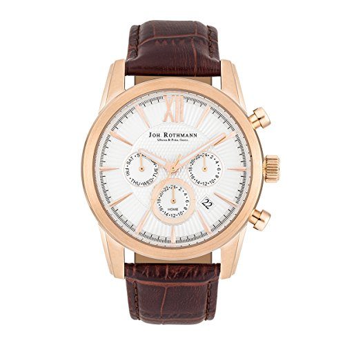 Joh. Rothmann Halvor men's multifunctional watch, rose gold-plated with brown genuine leather strap, with 5 ATM water resistance, 10030143