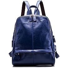 Anne - Bolso mochila  de Piel para mujer negro granate
