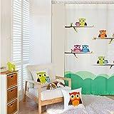 GWELL Kinderzimmer Gardinen Vorhang Eule Motiv Ösenschal Dekoschal für Wohnzimmer Schlafzimmer 1er-Pack 220x140cm(HxB)