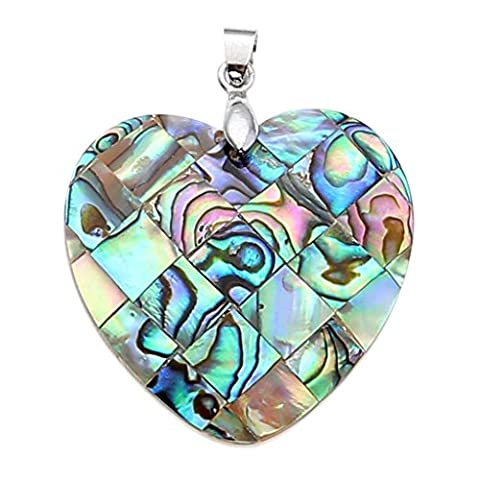 JOVIVI Silver Plated Heart Abalone Shell Pendant Bead Necklace