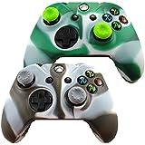 Pandaren® Piel Fundas Protectores para el Mando Xbox One x 2 + pulgar agarre thumb grip x 4(verde blanco + negro blanco)