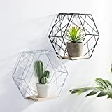 Hexagon Shelves Floating Box Shelf Home Deco Flower Frame Wall Hemp Rope Partition Innovative Wall Hanging Hexagonal Iron Shelf Decoration Racks For Indoor Outdoor Living Room Bedroom Decorations (White, Large Grid)